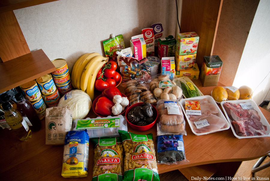 Set of ordinary food in Russia