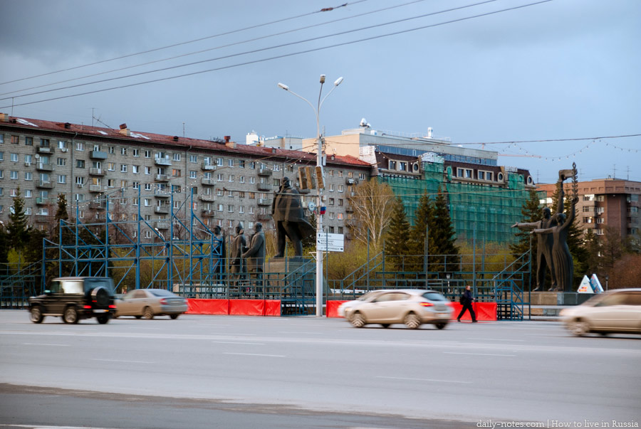 The center of Novosibirsk, the statue of Lenin