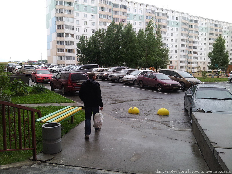 Parking area in the yard, Russia