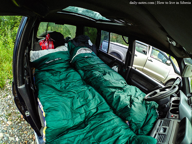 Sleeping in a car while travelling