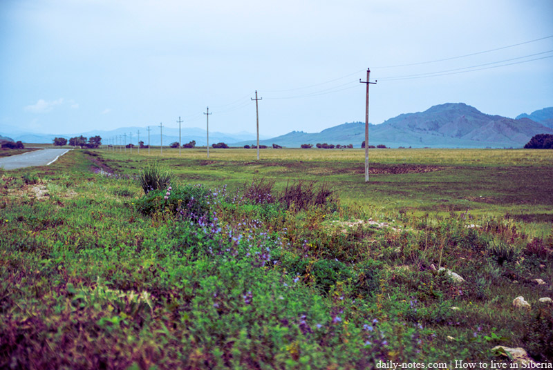 Morning in Khakassia rural area